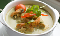 Green Curry with Mixed Seafood and Water Chestnuts